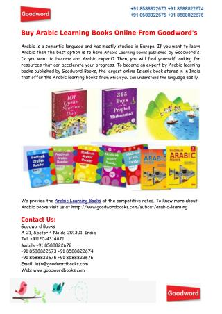 Buy Arabic Learning Books Online From Goodword's