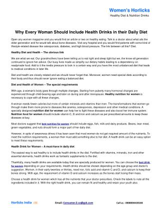 Why Every Woman Should Include Health Drinks in their Daily Diet