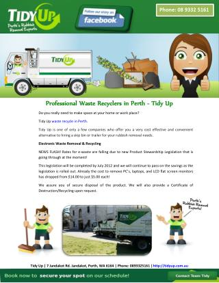 Professional Waste Recyclers in Perth - Tidy Up