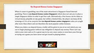 No Deposit Bonus Casino Cingapore