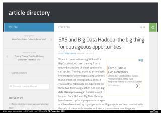 SAS and Big Data Hadoop-the big thing for outrageous opportunities