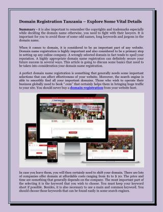 Domain Registration Tanzania – Explore Some Vital Details