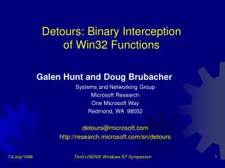 Detours: Binary Interception  of Win32 Functions