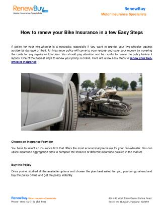 How to renew your Bike Insurance in a few Easy Steps