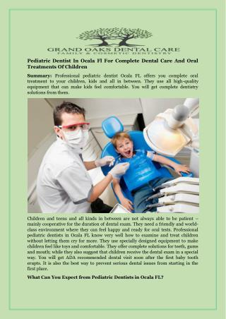 Pediatric Dentist In Ocala Fl For Complete Dental Care And Oral Treatments Of Children