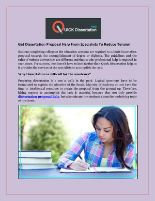 Get Dissertation Proposal Help From Specialists To Reduce Tension