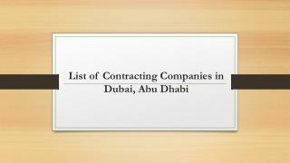 List of contracting companies in Dubai, Abu Dhabi