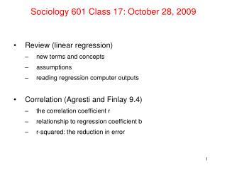Sociology 601 Class 17: October 28, 2009