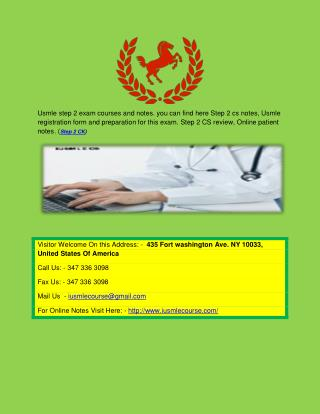 USMLE Step 2 CS Review and Course | Usmle registration form & Patient notes