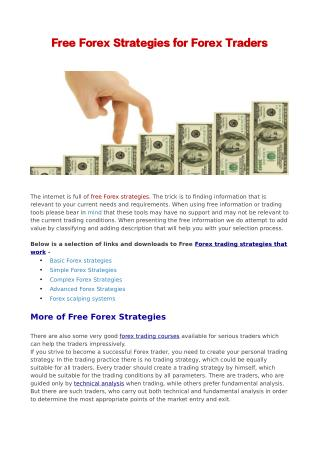 Free Forex Strategies for Forex Traders
