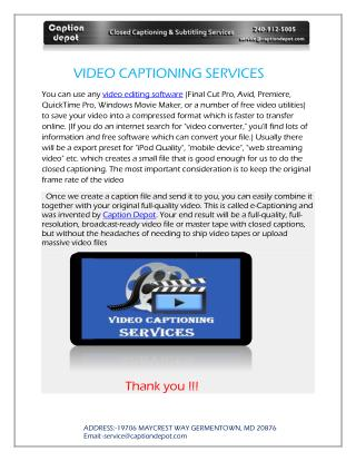 VIDEO CAPTIONING SERVICES