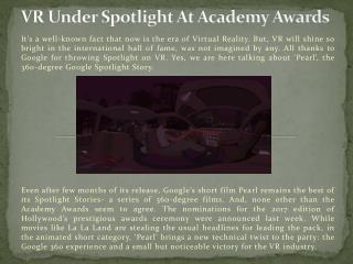 VR Under Spotlight At Academy Awards
