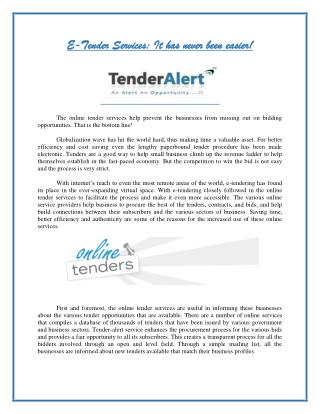 E-Tender Services: It has never been easier!