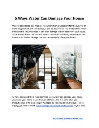 5 Ways Water Can Damage Your House
