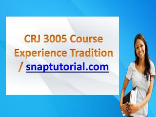 CRJ 3005 Course Experience Tradition / snaptutorial.com