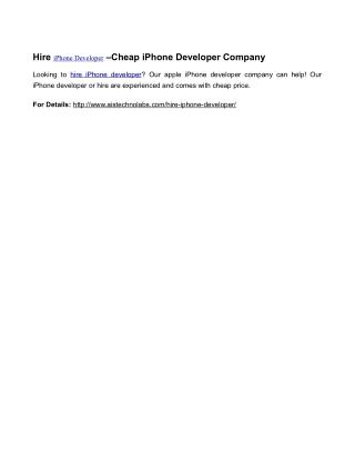 Hire iPhone Developer –Cheap iPhone Developer Company