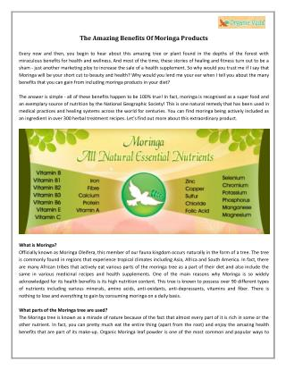 The Amazing Benefits Of Moringa Products