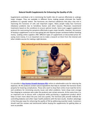 Natural Health Supplements for Enhancing the Quality of Life