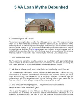 5 VA Loan Myths Debunked