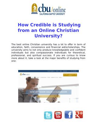 How Credible is studying from an Online Christian University?