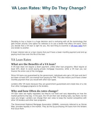 VA Loan Rates: Why Do They Change?