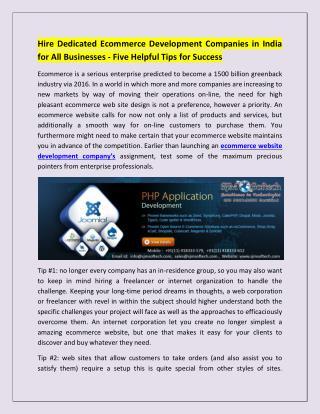 eCommerce Website Design Development Company in India