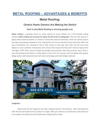 Metal Roofing–Advantages and Benefits
