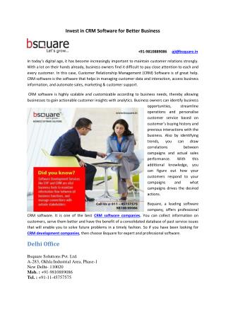 Invest in CRM Software for Better Business