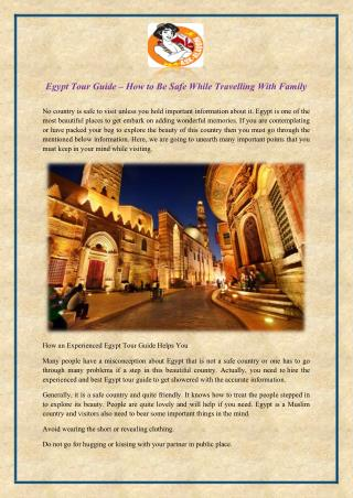 Egypt tour guide – how to be safe while travelling with family