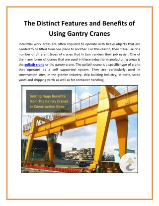 Gantry Crane - The Economic Replacement of Bridge Crane