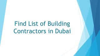 Building contracting companies in Dubai, Abu Dhabi
