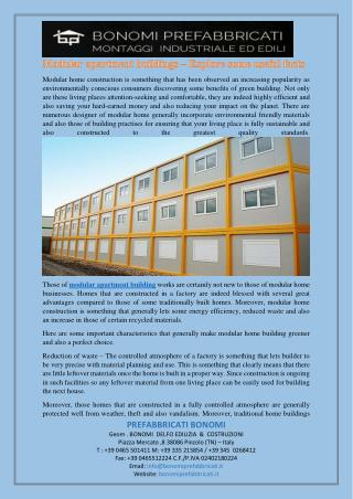 Modular apartment buildings – Explore some useful facts