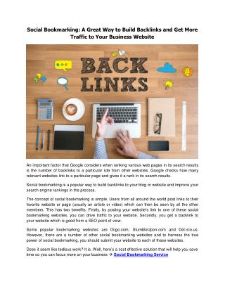 Build Backlinks and Get More Traffic with Social Bookmarking