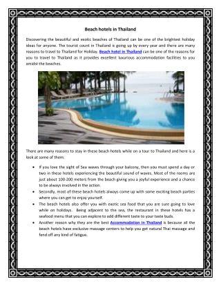 Beach hotels in Thailand