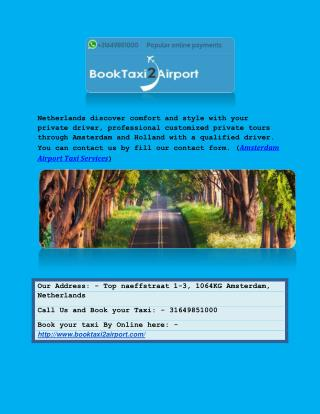 Amsterdam Taxi-Online | Book Reliable taxi in Netherlands