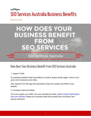 SEO Services Australia Business Benefits