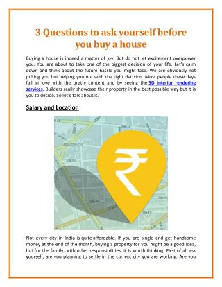 Few Questions To Ask Yourself Before You Buy A Home