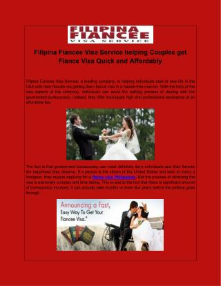 Filipina Fiancee Visa Service helping Couples get Fiance Visa Quick and Affordably
