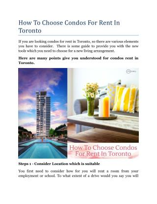 How To Choose Condos For Rent In Toronto