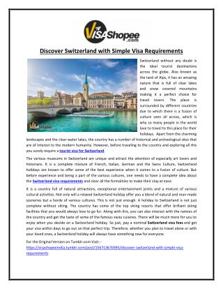 Discover Switzerland with Simple Visa Requirements