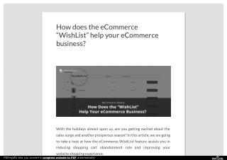 "How does the eCommerce ""WishList"" help your eCommerce business?"