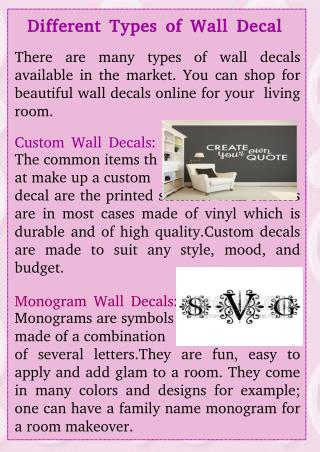 Different types of wall decal