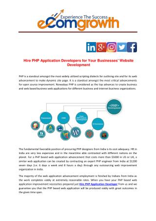 Hire PHP Application Developers for Your Businesses' Website Development
