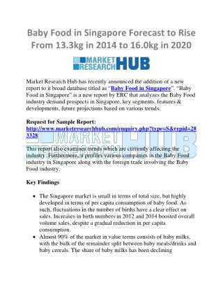 Baby Food in Singapore Forecast to Rise from 13.3kg in 2014 to 16.0kg in 2020