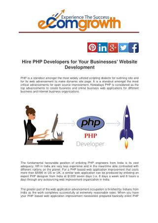 Hire PHP Developers for Your Businesses' Website Development
