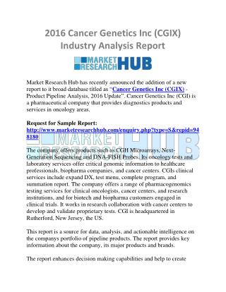 2016 Cancer Genetics Inc (CGIX) Industry Analysis Report