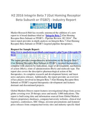 H2 Integrin Beta 7 (Gut Homing Receptor Beta Subunit or ITGB7) - Industry Report