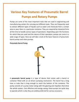 Rotary Pump - One of the Simplest Industrial Pumps