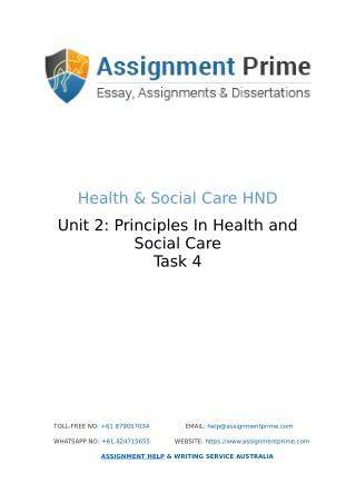 Assignment Prime - Sample Assignment on Health & Social Care (Task 4)