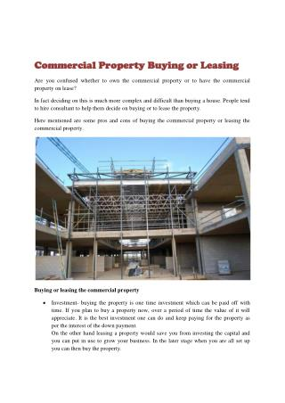 Commercial Property Buying or Leasing